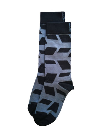 Black and Grey Tile Sock (8-11)