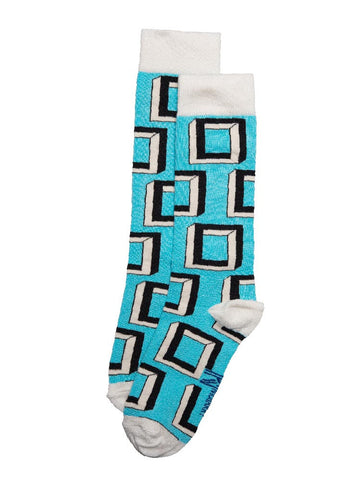 Blue Escher Square Sock (4-7)