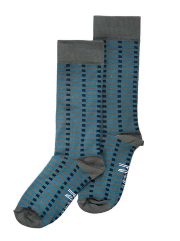 Blue & Grey Block Sock (8-11)