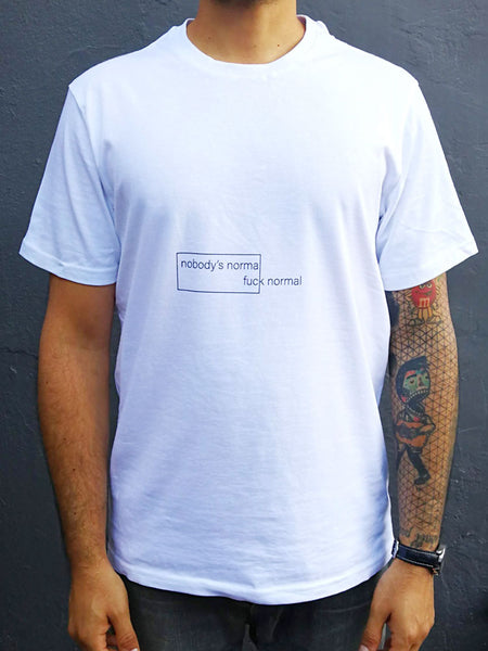 Nobody's Normal White Cotton T-Shirt (mens)