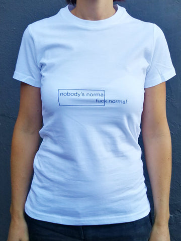Nobody's Normal White Cotton T-Shirt (womens)