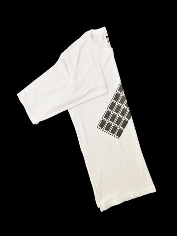 White Bamboo Long Sleeve T-Shirt With Black Blocks