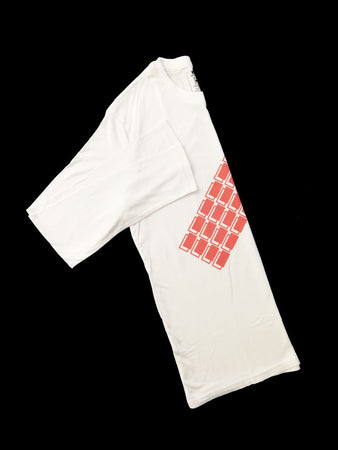 White Bamboo Long Sleeve T-Shirt With Red Blocks
