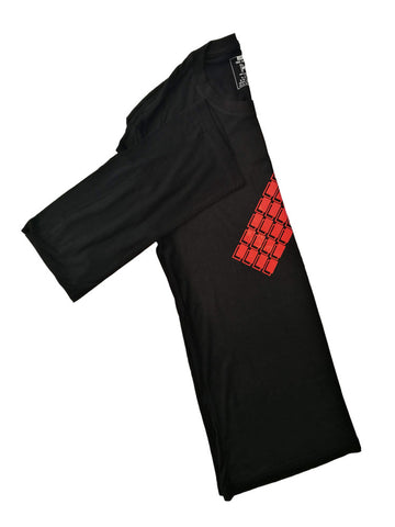 Black Bamboo Long Sleeve T-Shirt With Red Blocks