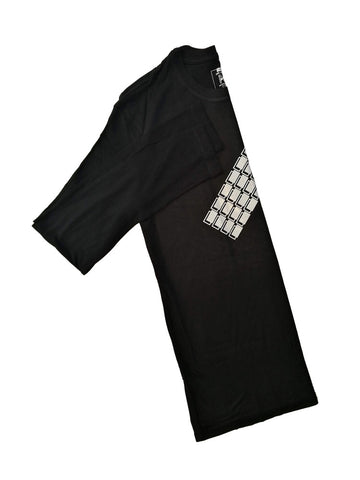 Black Bamboo Long Sleeve T-Shirt With White Blocks