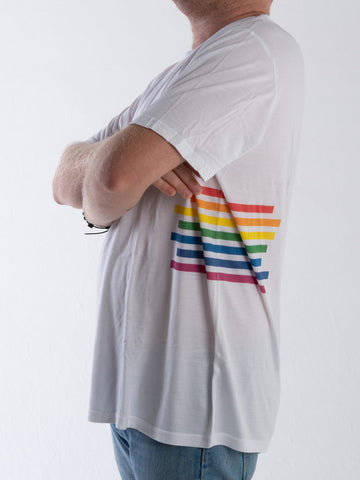 Pride Stripe White Bamboo T-Shirt