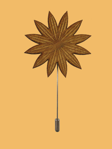 Bamboo Spikey Flower Lapel Pin
