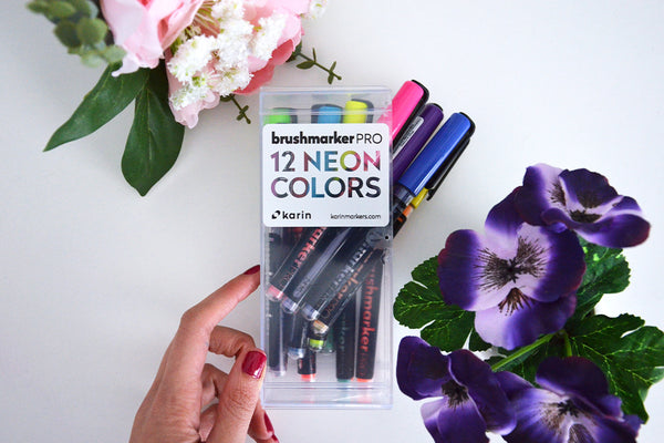 rotuladores karin brush maker pro colores neon