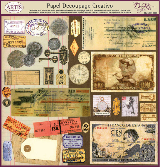 Papeles Decoupage Billetes - 0813290