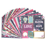 "Set Papeles Scrap ""Deep Blossoms"" 12x12"" CRAFT SMITH"