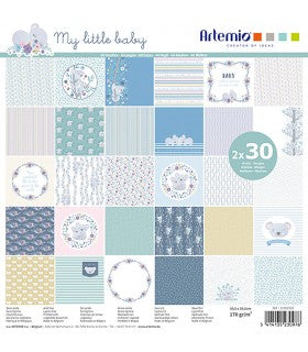 "Set 60 Papeles Scrap My Little Baby 12x12"" (30,5x30,5 cm) Artemio"