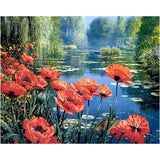 "Kit Pintar con Diamantes 48x38cm ""Poppies by the Lake"" CdA"