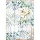 Papel Arroz Romantic Sea Dream Flor Blanca A4 Stamperia DFSA4561