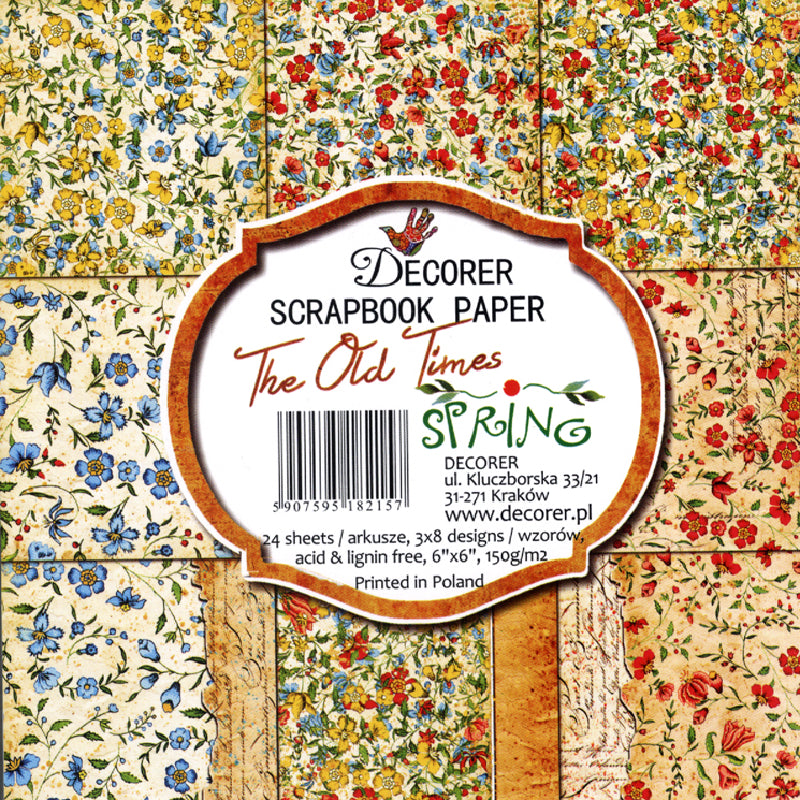 "Set Papeles Scrap The Old Times Spring 6x6"" Decorer"