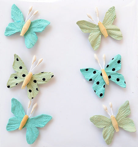 Adornos de Papel Mariposas Pacific Blue 6uds