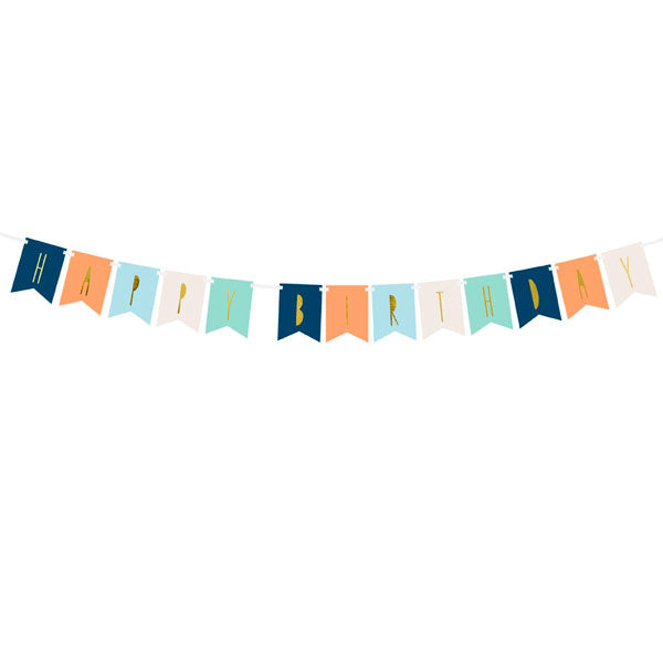 Banner 'Happy Birthday' Mix 11,5x140cm PartyDeco
