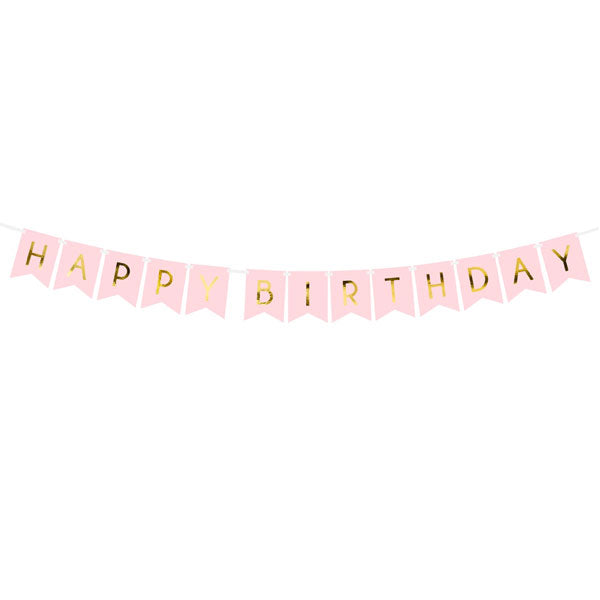 Banner 'Happy Birthday' Rosa 15x175cm PartyDeco