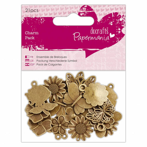 Set Charms de Flores y Mariposas de Metal Docrafts 21uds