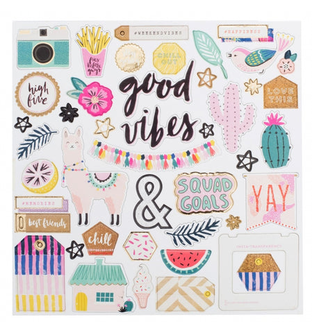 "Chipboard Stickers Good Vibes 12x12"" Crate Paper"