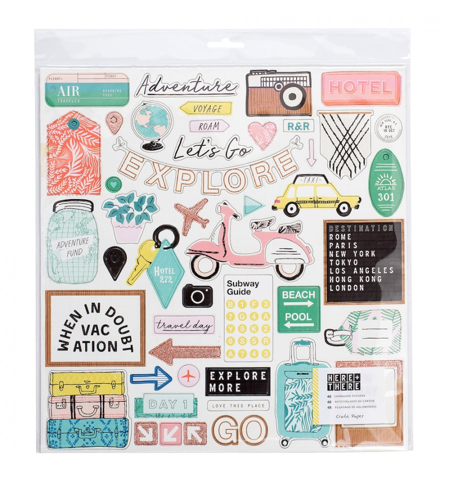 "Chipboard Stickers Here + There 12x12"" Crate Paper"