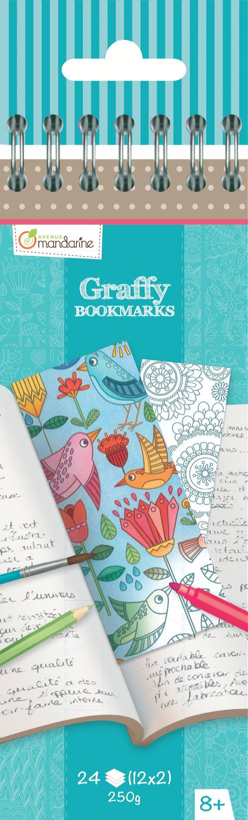 Marcapáginas para Colorear Flores Graffy Bookmark Avenue Mandarine