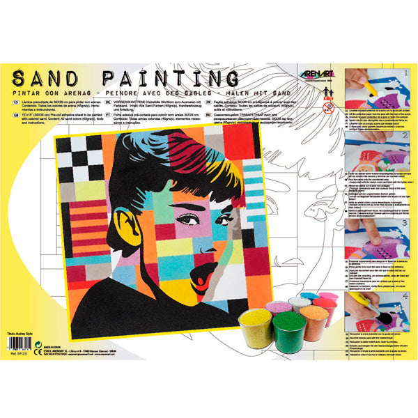 Kit Pintar con Arenas de Colores 'Audrey Pop Art' 38x46cm ARENART