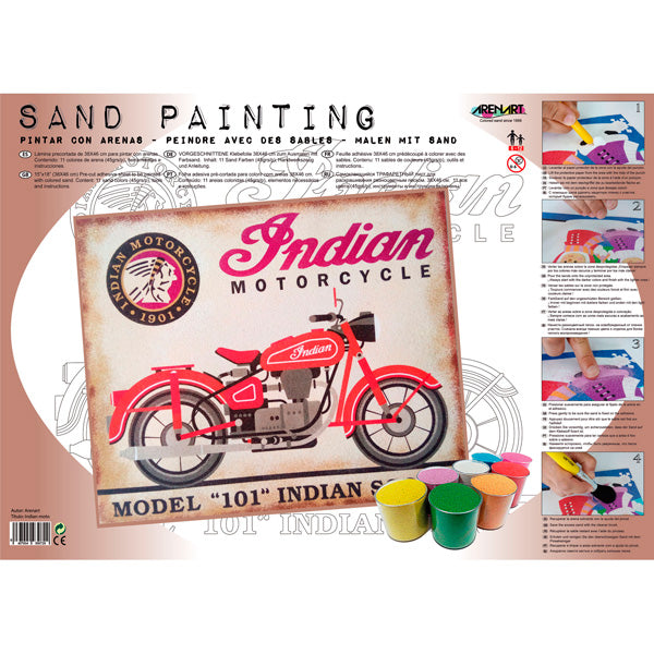 Kit Pintar con Arenas de Colores 'Indian Motorcycle' 38x46cm ARENART