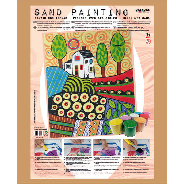 Kit Pintar con Arenas de Colores 'Paisaje Naif Orange' 38x46cm ARENART