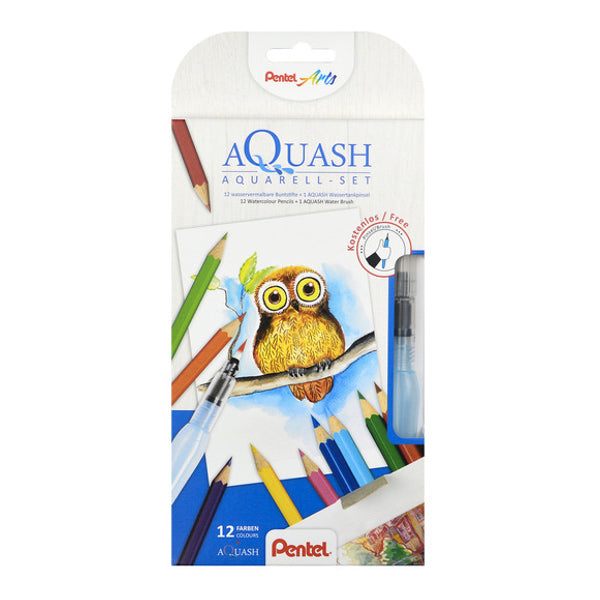 Set Creativo 12 Lápices Acuarelables + Pincel Agua Pentel
