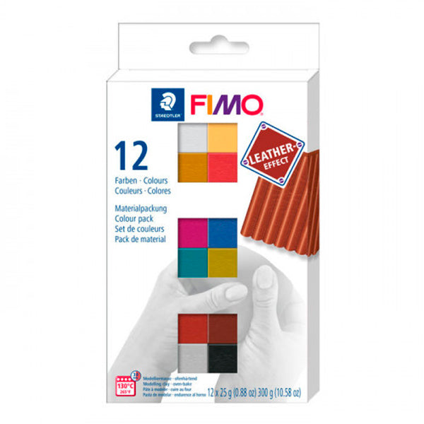 Pack 12 Colores Leather Effect 25gr FIMO