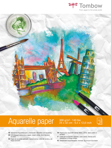 Papel Acuarela 24x32cm Tombow 300gr, 15hojas
