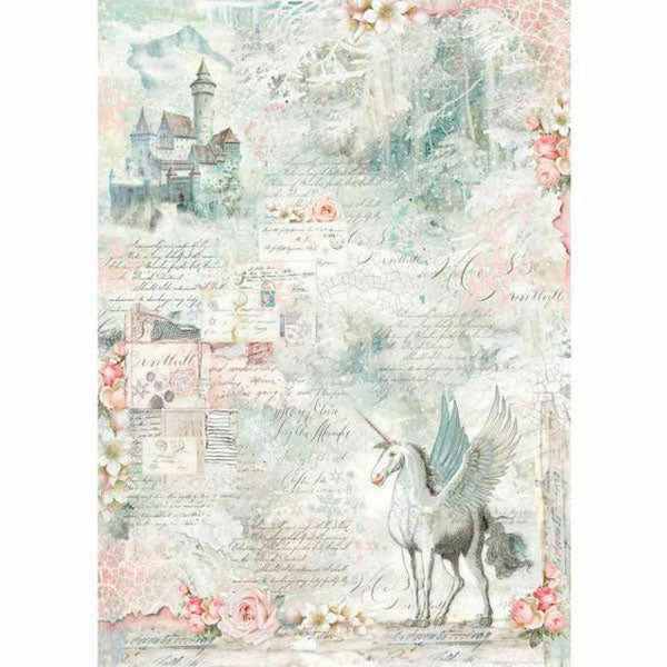 Papel Arroz 'Unicornio Fantasy' A3 Stamperia DFSA3001