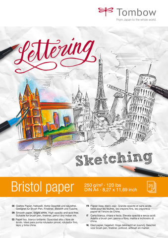 Papel Bristol Lettering A4 250gr Tombow, 25hojas
