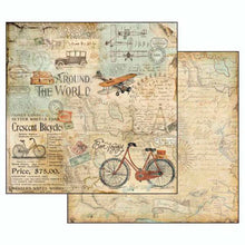 Papel Scrap 'Around the World Tour Bicicleta' 30,5x30,5cm Stamperia SBB508