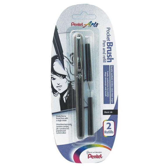 Pincel Brush Pen Tinta Negra Permanente NEGRO Pentel