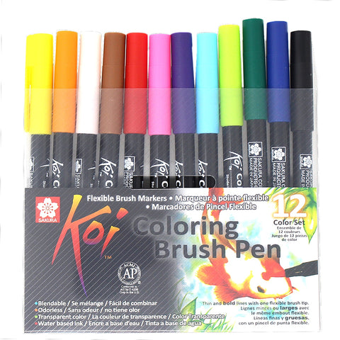 Set 12 Rotuladores Sakura KOI Coloring Brush Pen