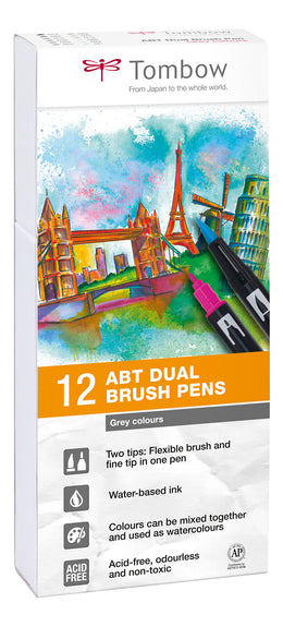Set 12 Rotuladores Tombow Dual Brush Tonos Grises