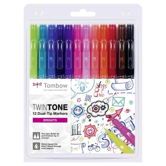 Set 12 Rotuladores Colores Brillantes TWINTONE Tombow