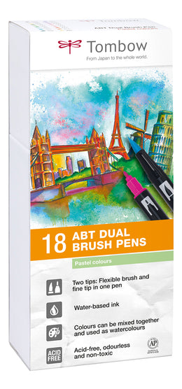 Set 18 Rotuladores Tombow Dual Brush Colores Pastel