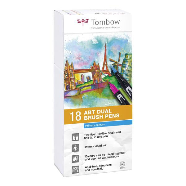Set 18 Rotuladores Tombow Dual Brush Colores Primarios
