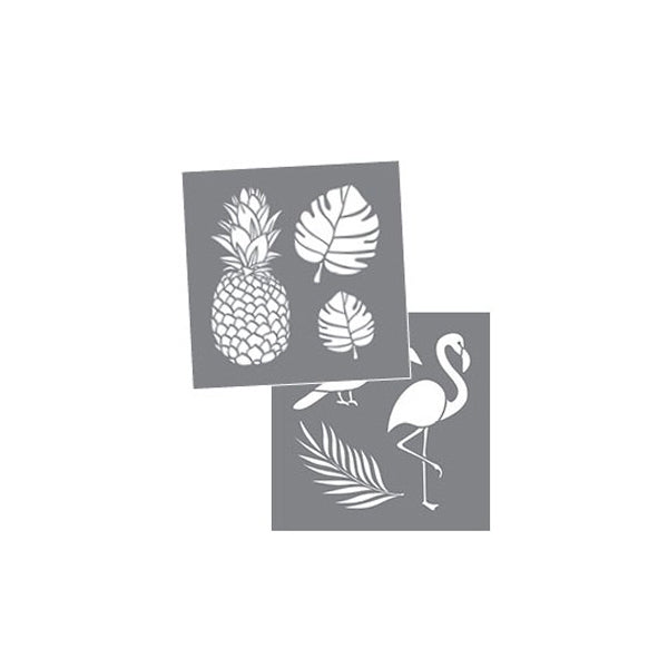 Set 2 Plantillas Stencil 'Tropical' 20x20cm DecoArt ADS-207