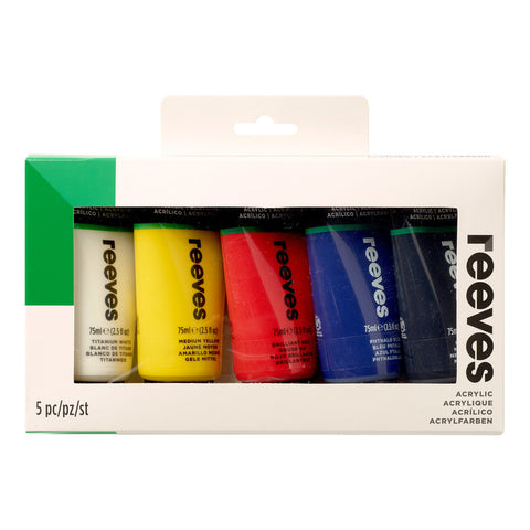 Set x5 Pintura Acrílica 75ml Reeves