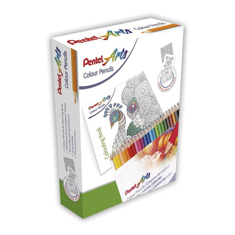Set Creativo 24 Lápices de Colores + Mandalas Pentel
