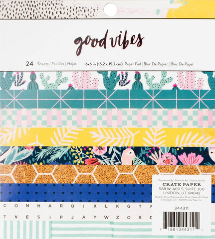 "Set Papeles Scrap Good Vibes 6x6"" Crate Paper"