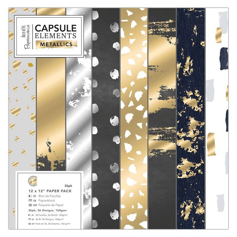 "Set Papeles Scrap Capsule Metallics 12x12"" Docrafts Papermania"