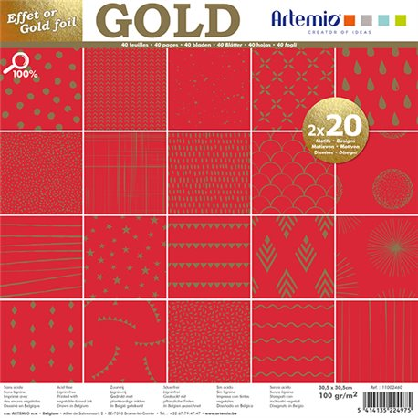 "Set Papeles Scrap 'Gold' 12x12"" Artemio"