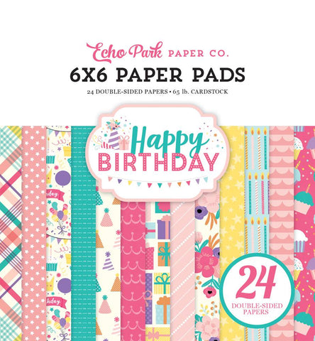 "Set Papeles Scrap Happy Birthday 6x6"" Echo Park"