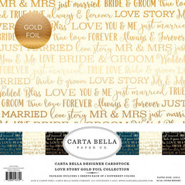 "Set Papeles Scrap 'Love Story Gold Foil' 12x12"" Carta Bella"
