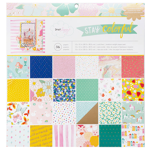 "Set Papeles Scrap Stay Colorful 12x12"" Dear Lizzy"