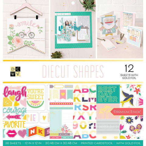 "Set Papeles Scrap Diecut Shapes 12x12"" DCWV"